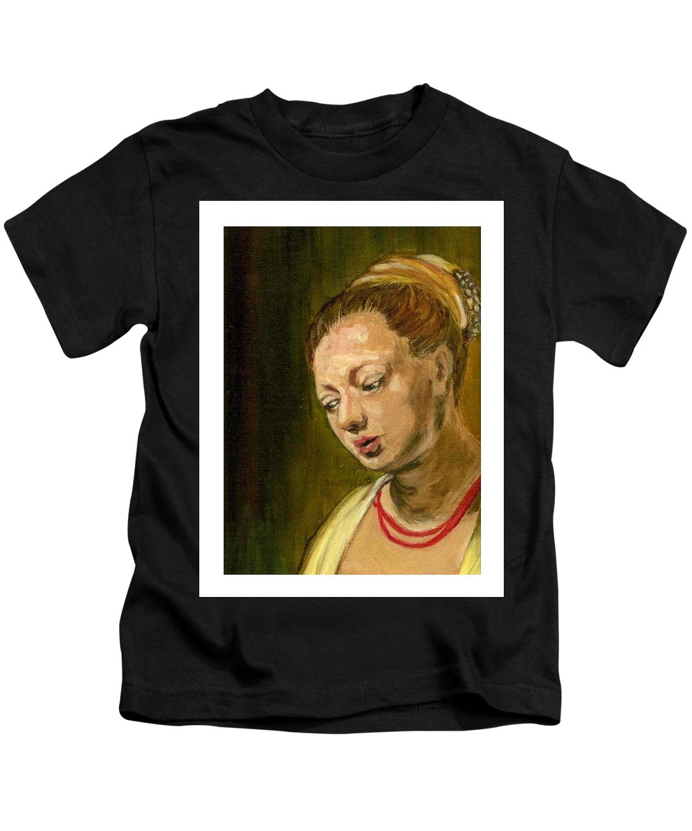 Rembrandt's Painting Kids T-Shirt featuring the painting Young Woman by Asha Sudhaker Shenoy