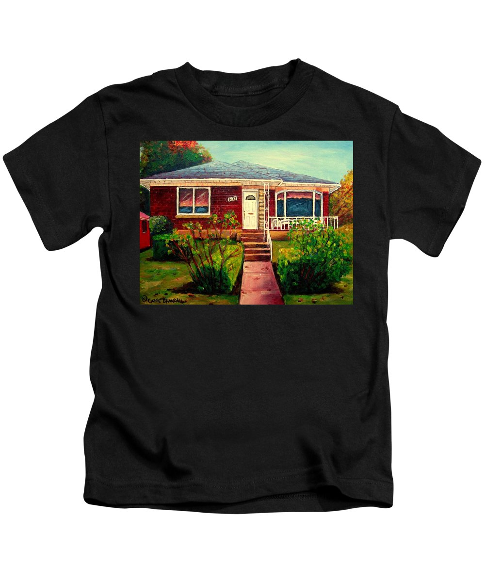 Montreal Kids T-Shirt featuring the painting Your Home Commission Me by Carole Spandau