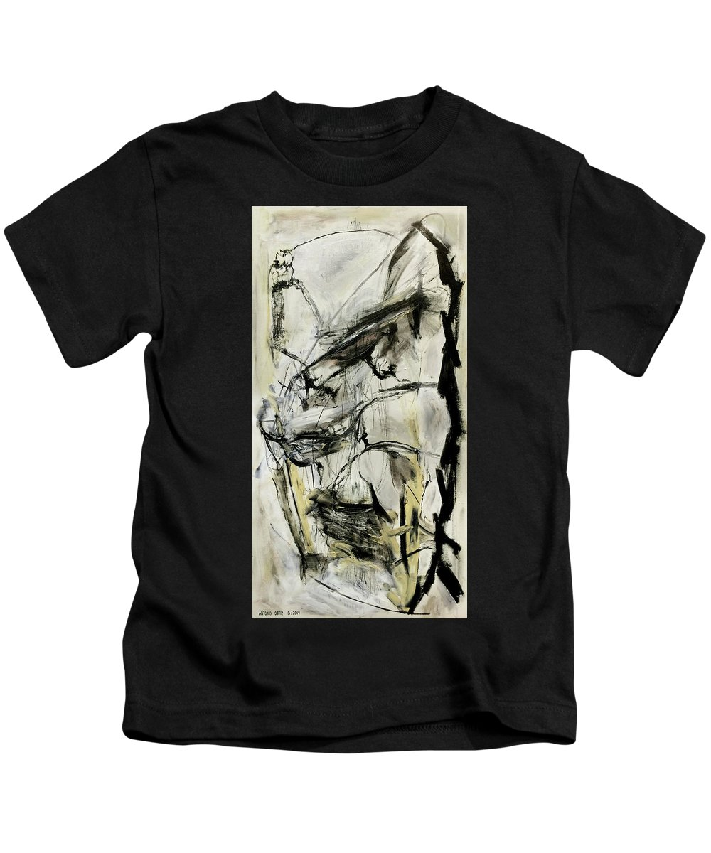 Abstract Expressionism Kids T-Shirt featuring the painting Your Kid Can't Do This by Antonio Ortiz