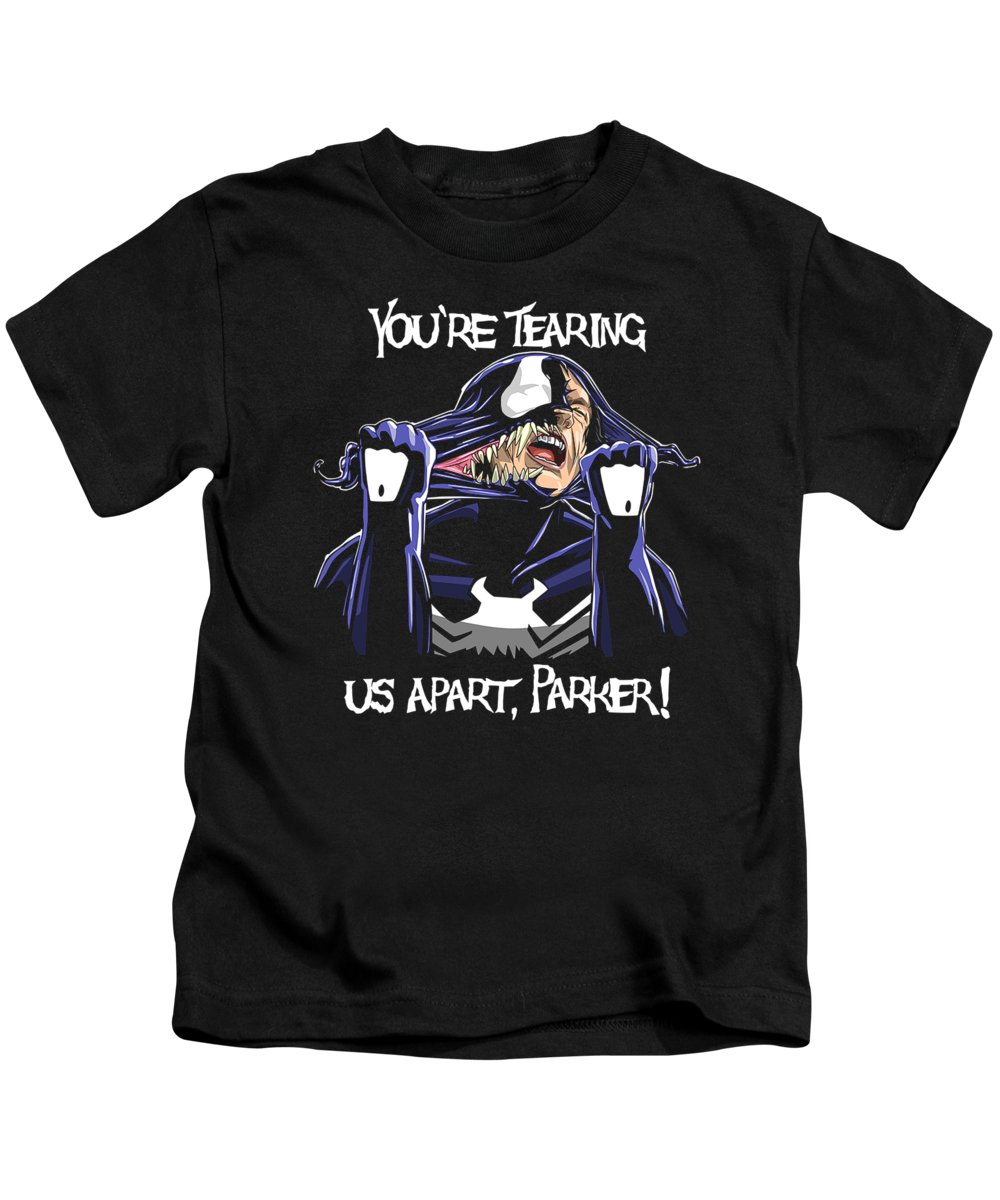 Spiderman Kids T-Shirt featuring the digital art Your're Tearing Us Apart, Parker by Levi H Autrey