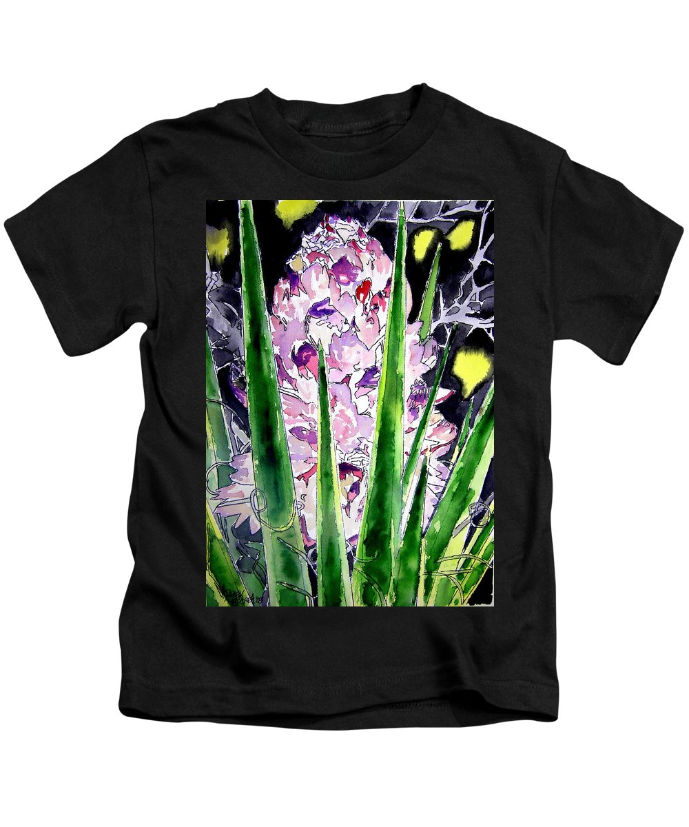 Flower Kids T-Shirt featuring the painting Yucca Flower Plant Southwestern Art by Derek Mccrea