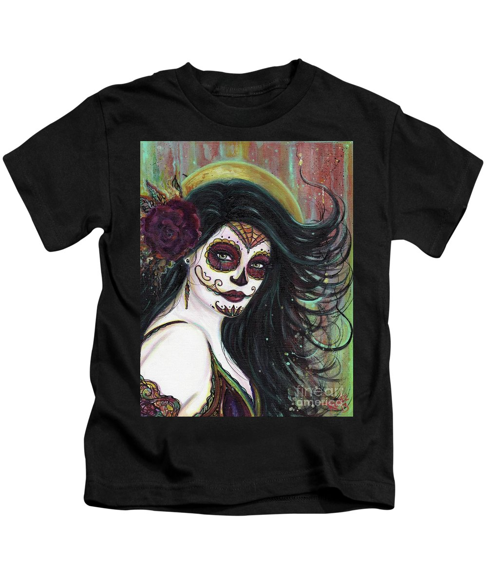 Day Of The Dead Kids T-Shirt featuring the painting Zatina Day Of The Dead by Renee Lavoie