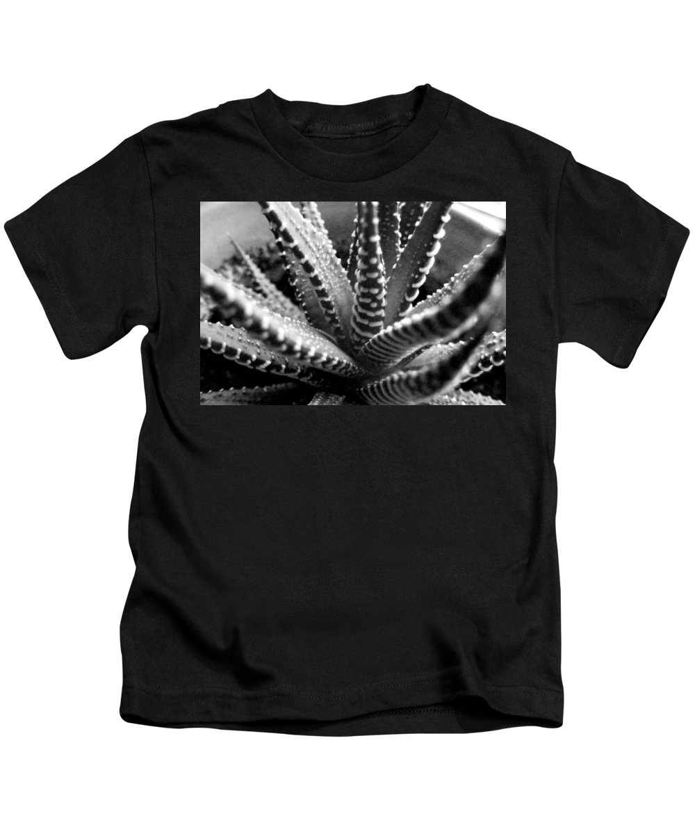Black And White Photography Kids T-Shirt featuring the photograph Zebra Cactus Bw by Barbara Griffin