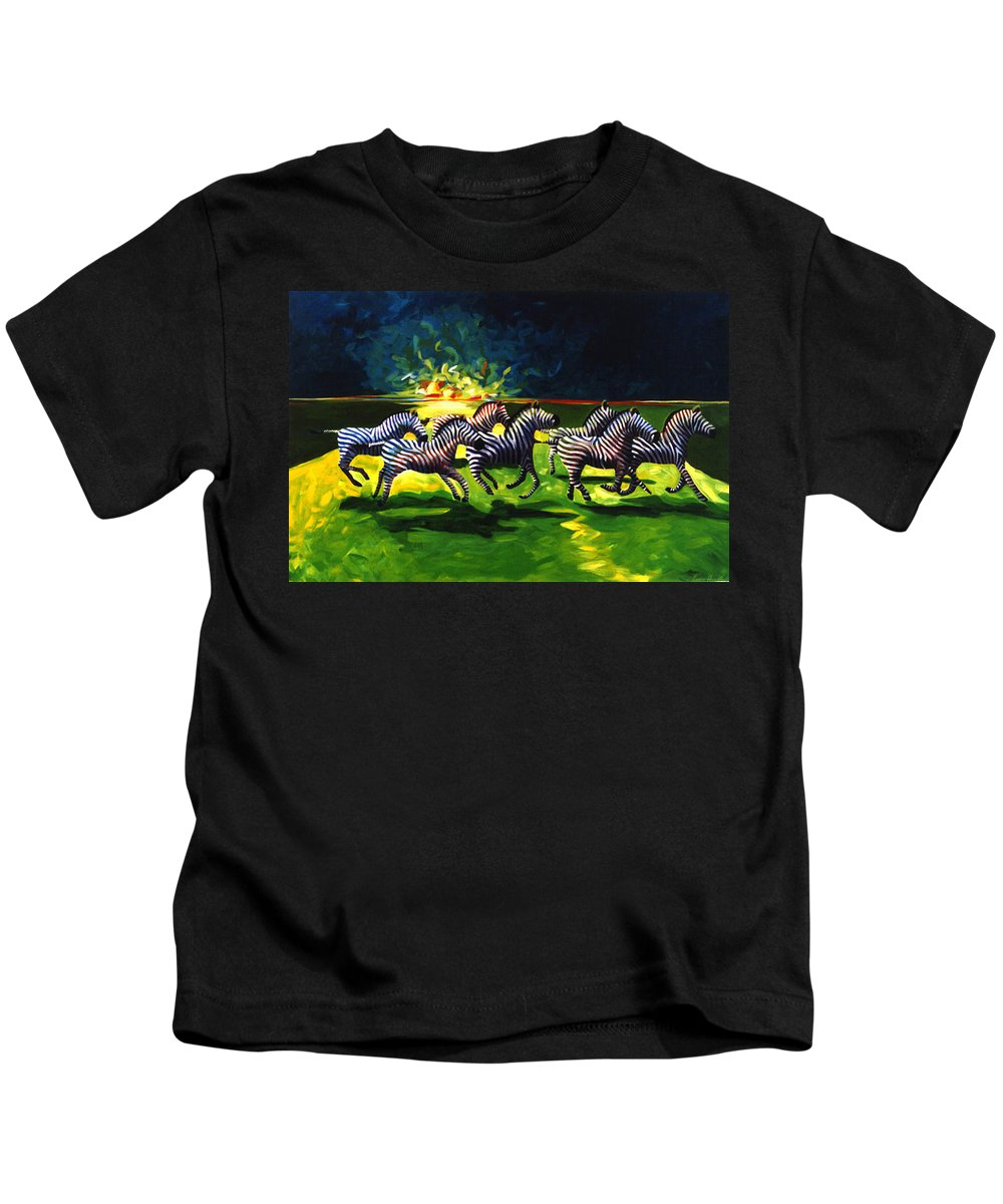 Modern Kids T-Shirt featuring the painting Zebz by Lance Headlee