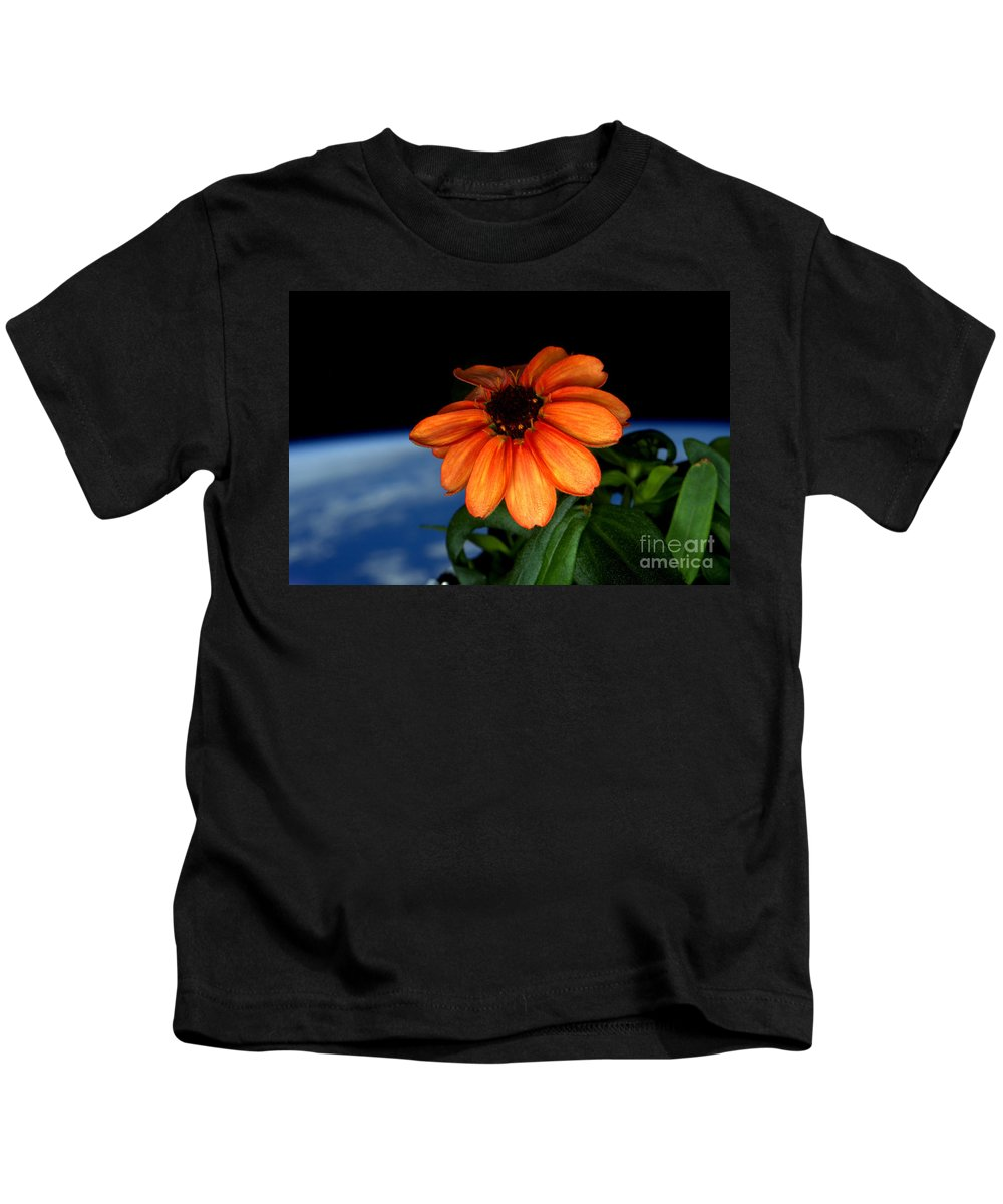 Science Kids T-Shirt featuring the photograph Zinnia Grown On Iss Veggie Facility by Science Source