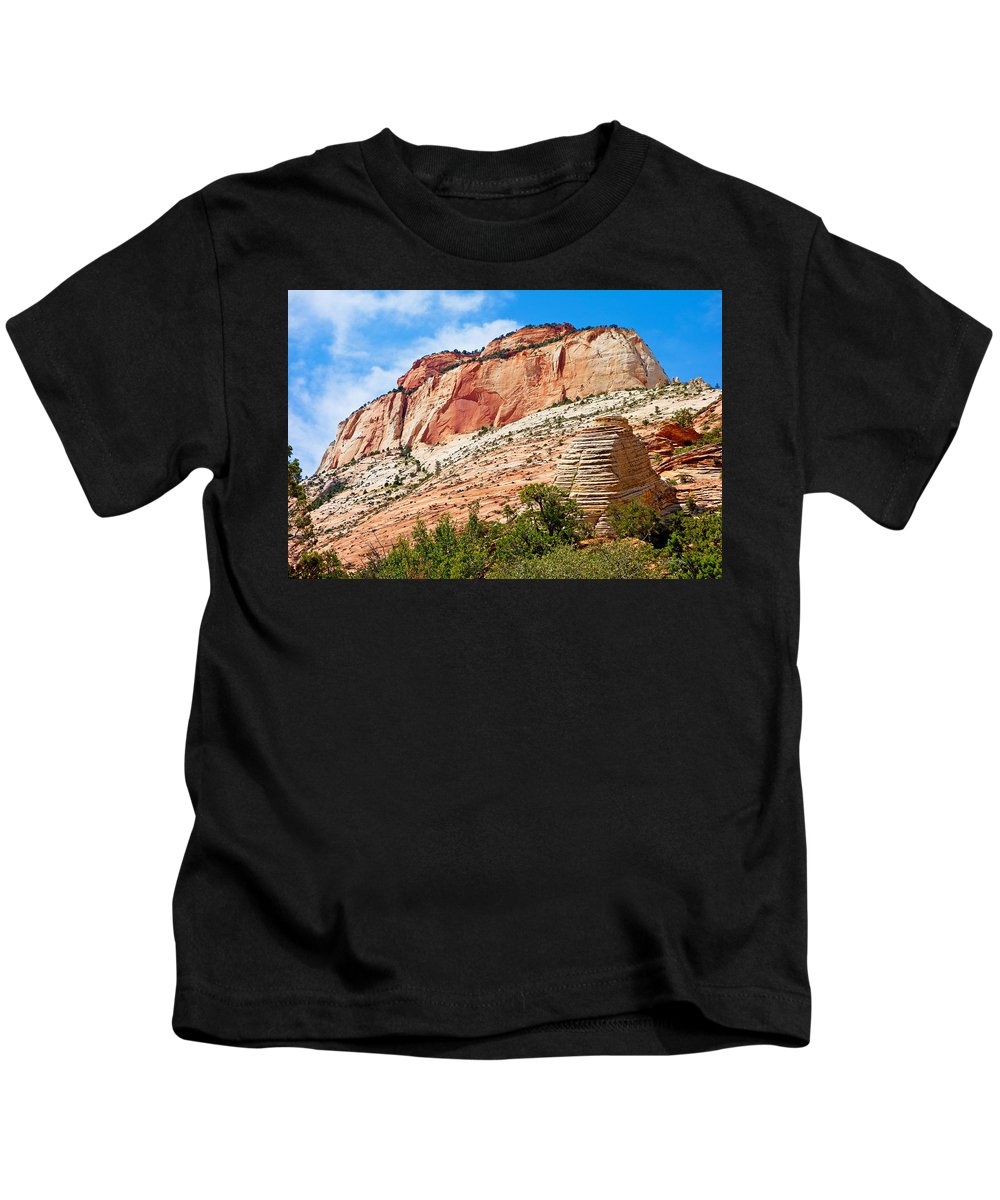 Zion Kids T-Shirt featuring the photograph Zion Hike 1 View 2 by Robert Meyers-Lussier