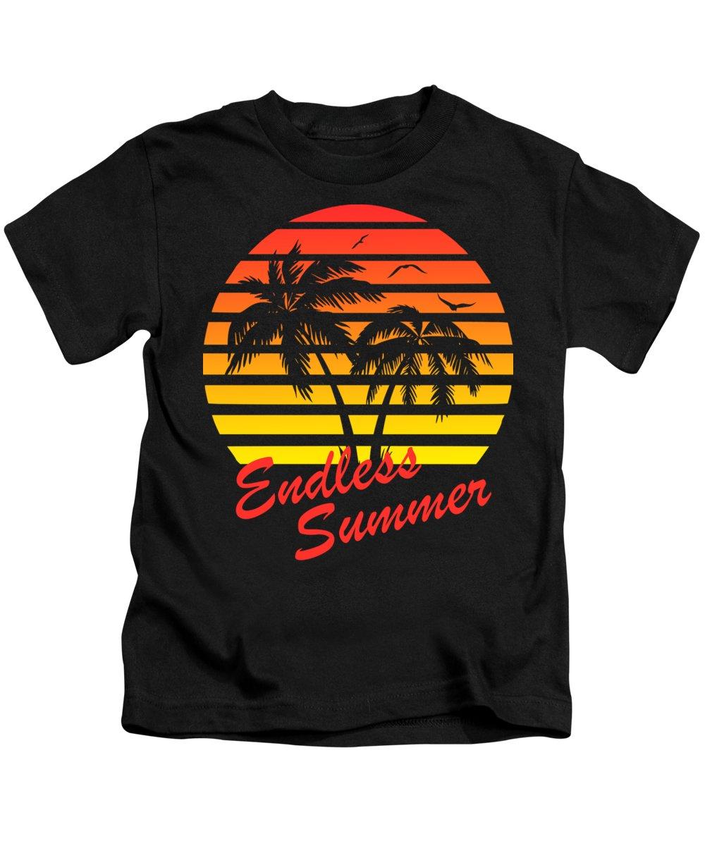 Sunset Kids T-Shirt featuring the digital art Endless Summer by Filip Hellman