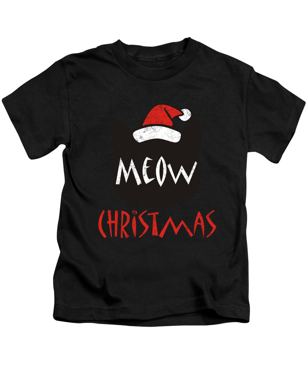 Cat Kids T-Shirt featuring the digital art Meow Christmas Distressed by Kaylin Watchorn
