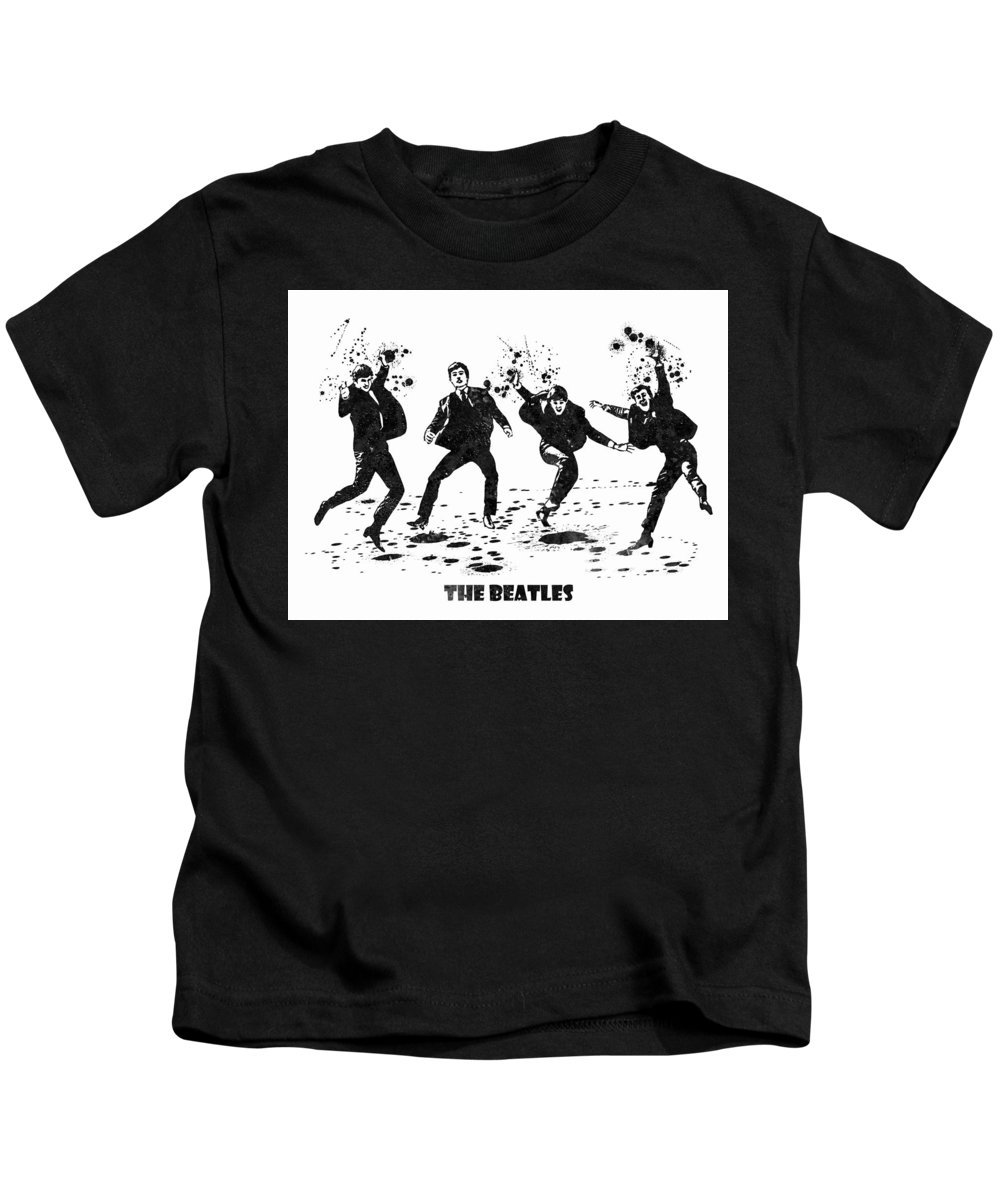 The Beatles Kids T-Shirt featuring the painting The Beatles Black And White Watercolor 01 by JESP Art and Decor