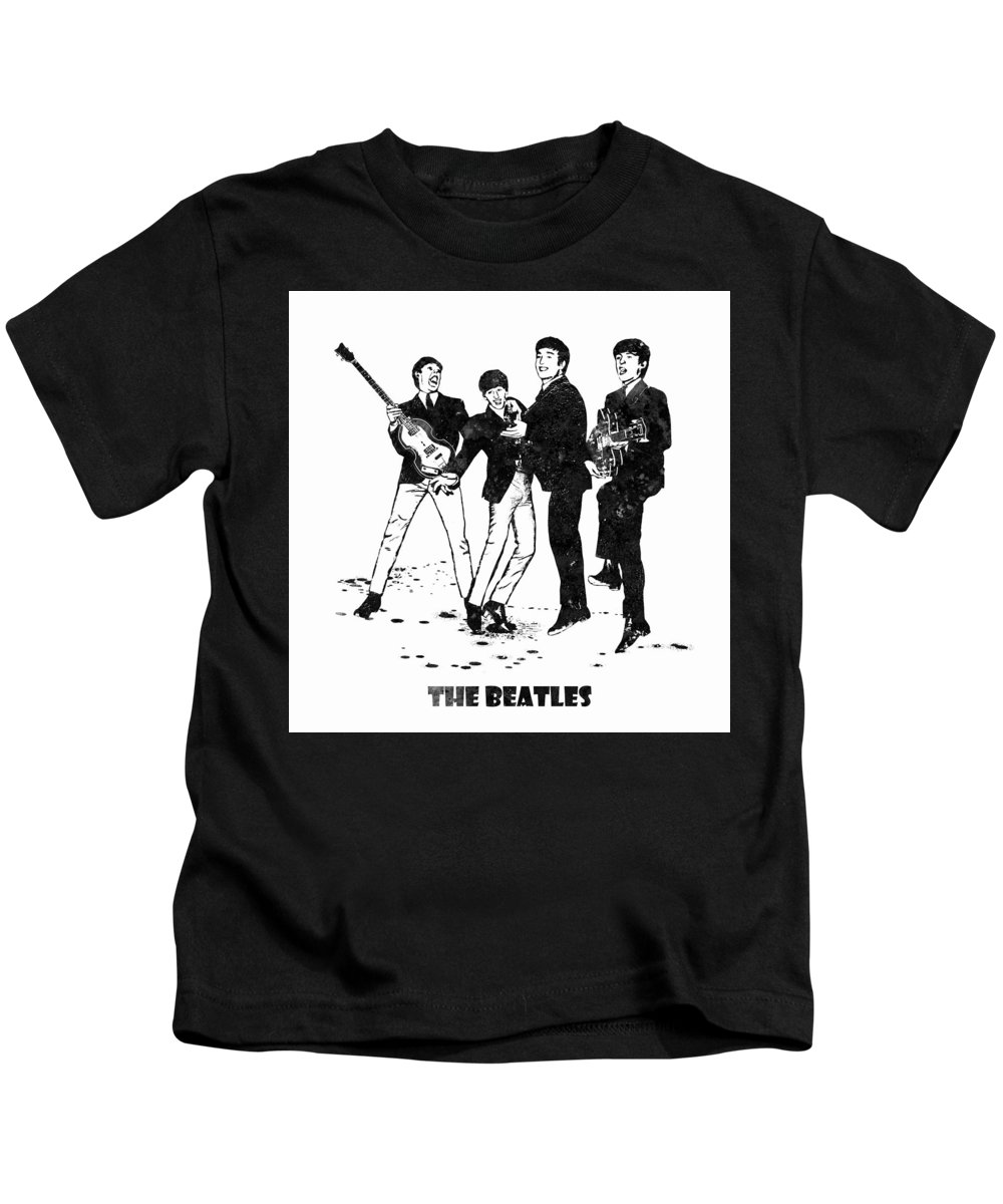 The Beatles Kids T-Shirt featuring the painting The Beatles Black And White Watercolor 02 by JESP Art and Decor