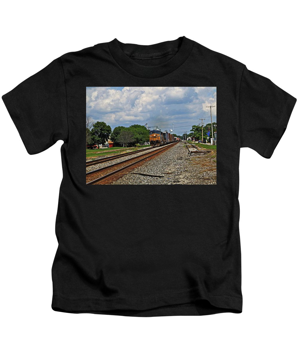 Union City In Kids T-Shirt featuring the photograph Train In Motion by Robert M Worth Jr