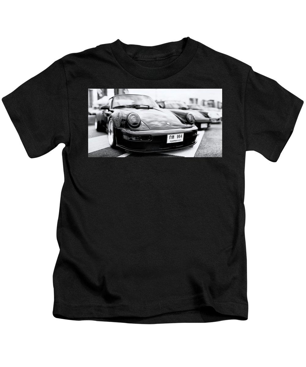 Porsche 911 Carrera Kids T-Shirt featuring the photograph Porsche 911 Carrera 964 Rwb by Benjamin Dupont