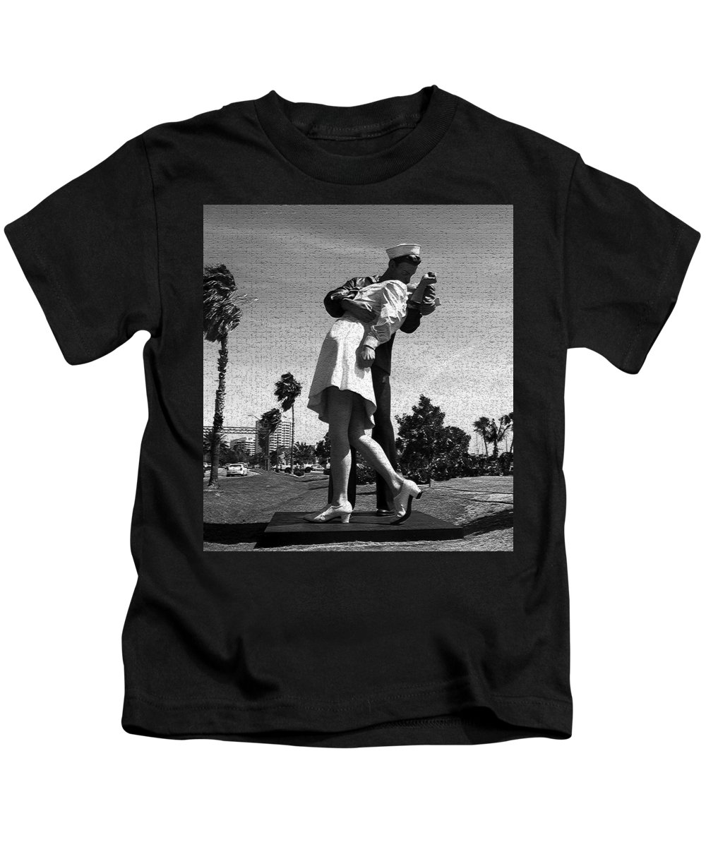 The Kiss Kids T-Shirt featuring the photograph The Kiss by David Lee Thompson