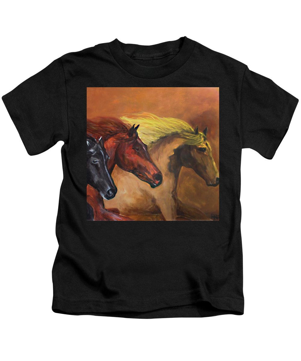 Wild Horses Kids T-Shirt featuring the painting Horses Running by Rafael Serur
