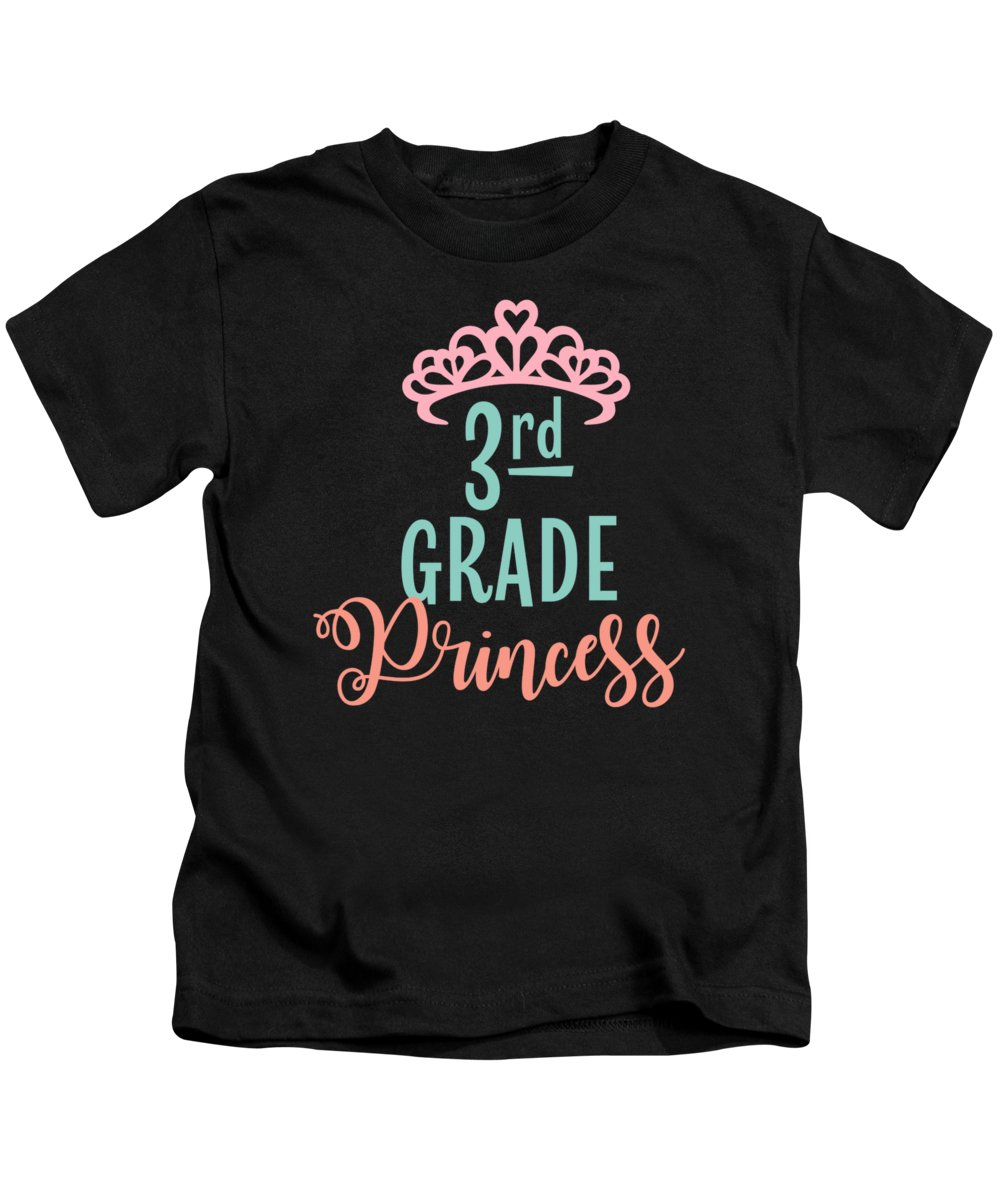 Gift Kids T-Shirt featuring the drawing 3rd Grade Princess Adorable For Daughter Pink Tiara Princess by Cameron Fulton
