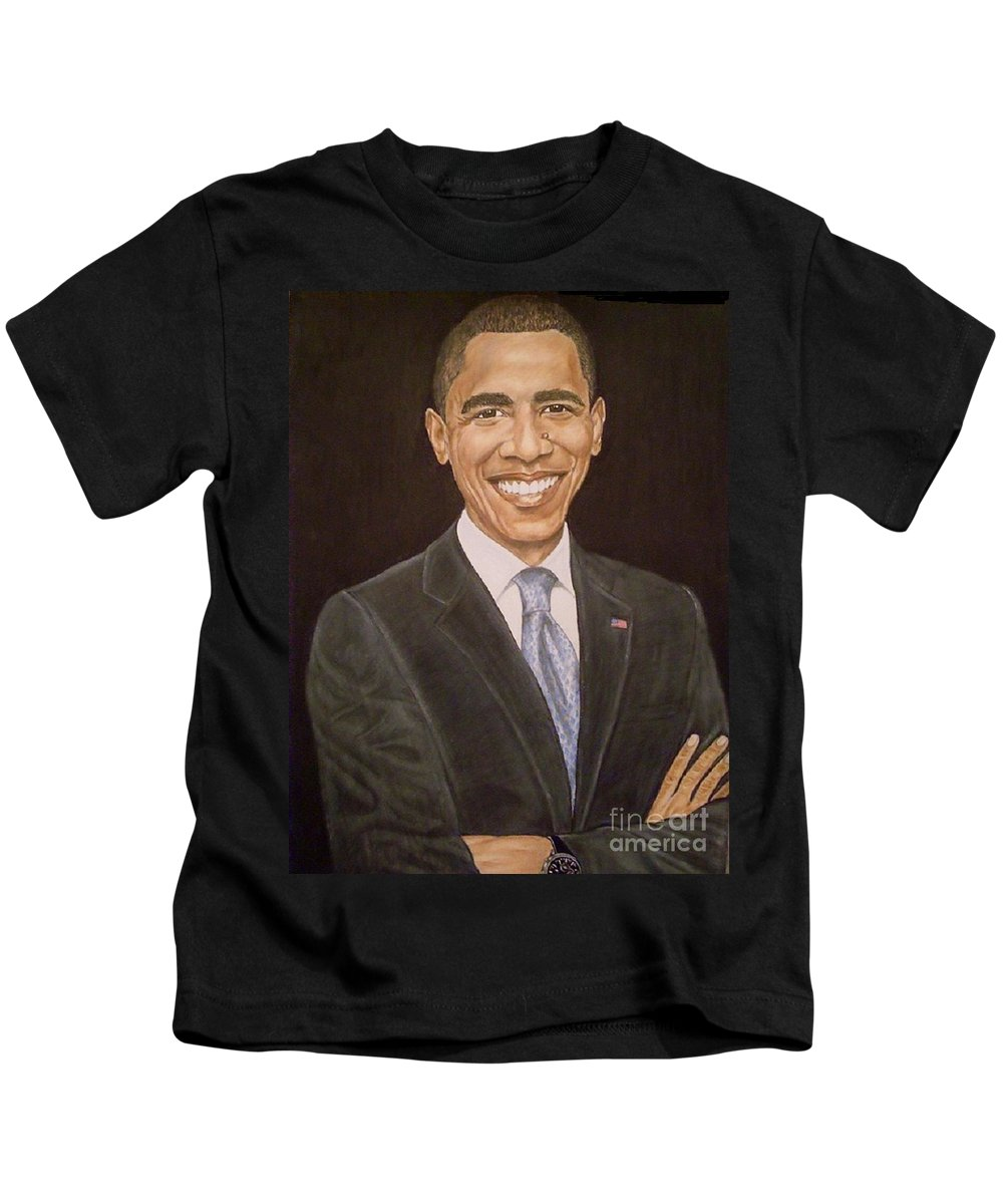 Portait Kids T-Shirt featuring the painting 44th Though First. by Arron Kirkwood
