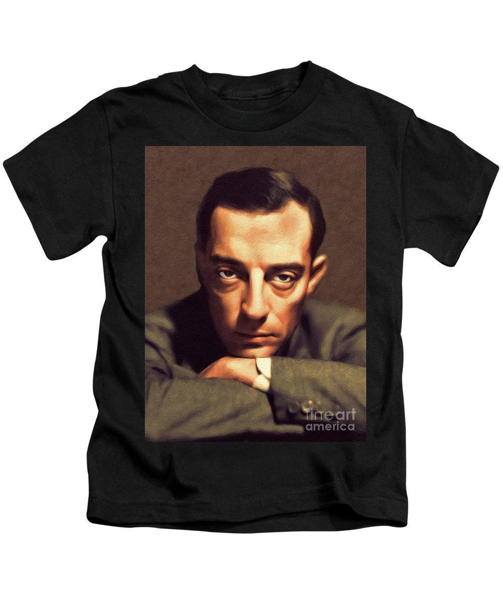 Buster Kids T-Shirt featuring the painting Buster Keaton, Hollywood Legend by John Springfield