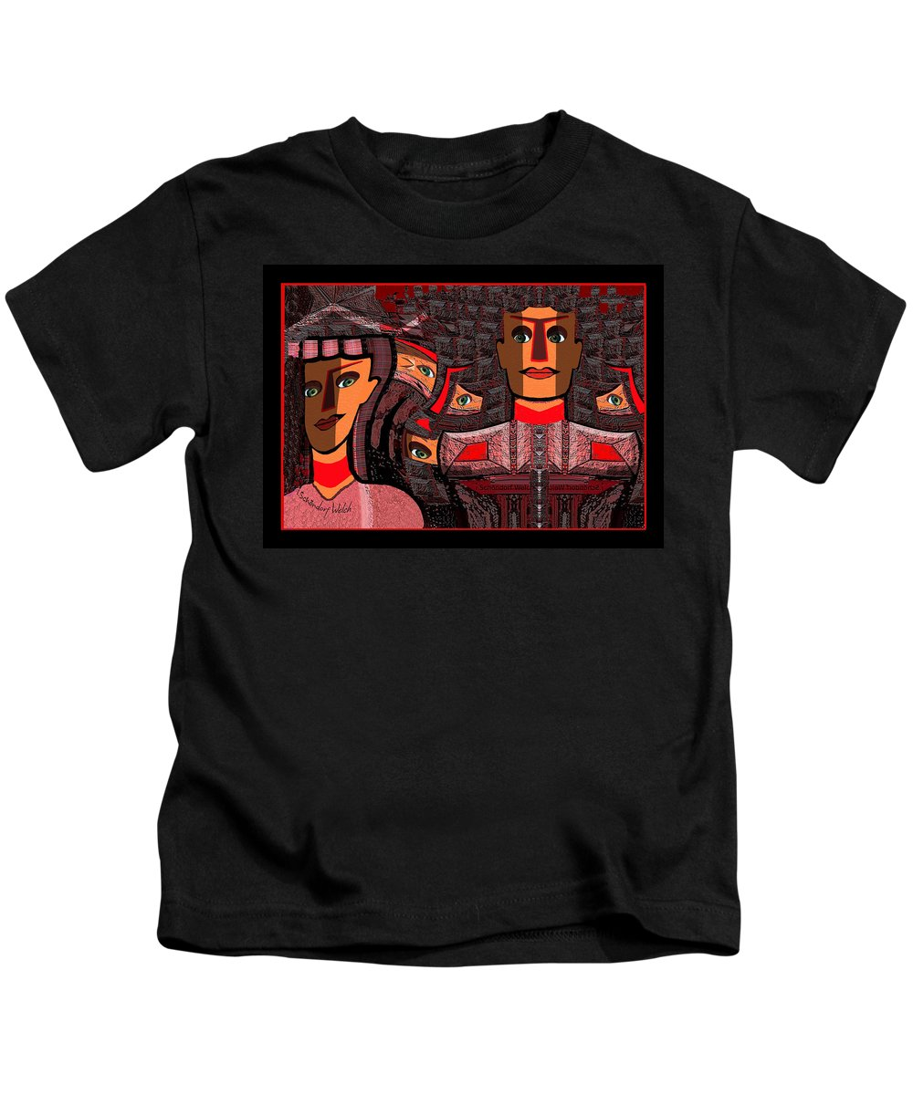 Woman Kids T-Shirt featuring the painting 568 Women On Stone Wall V by Irmgard Schoendorf Welch