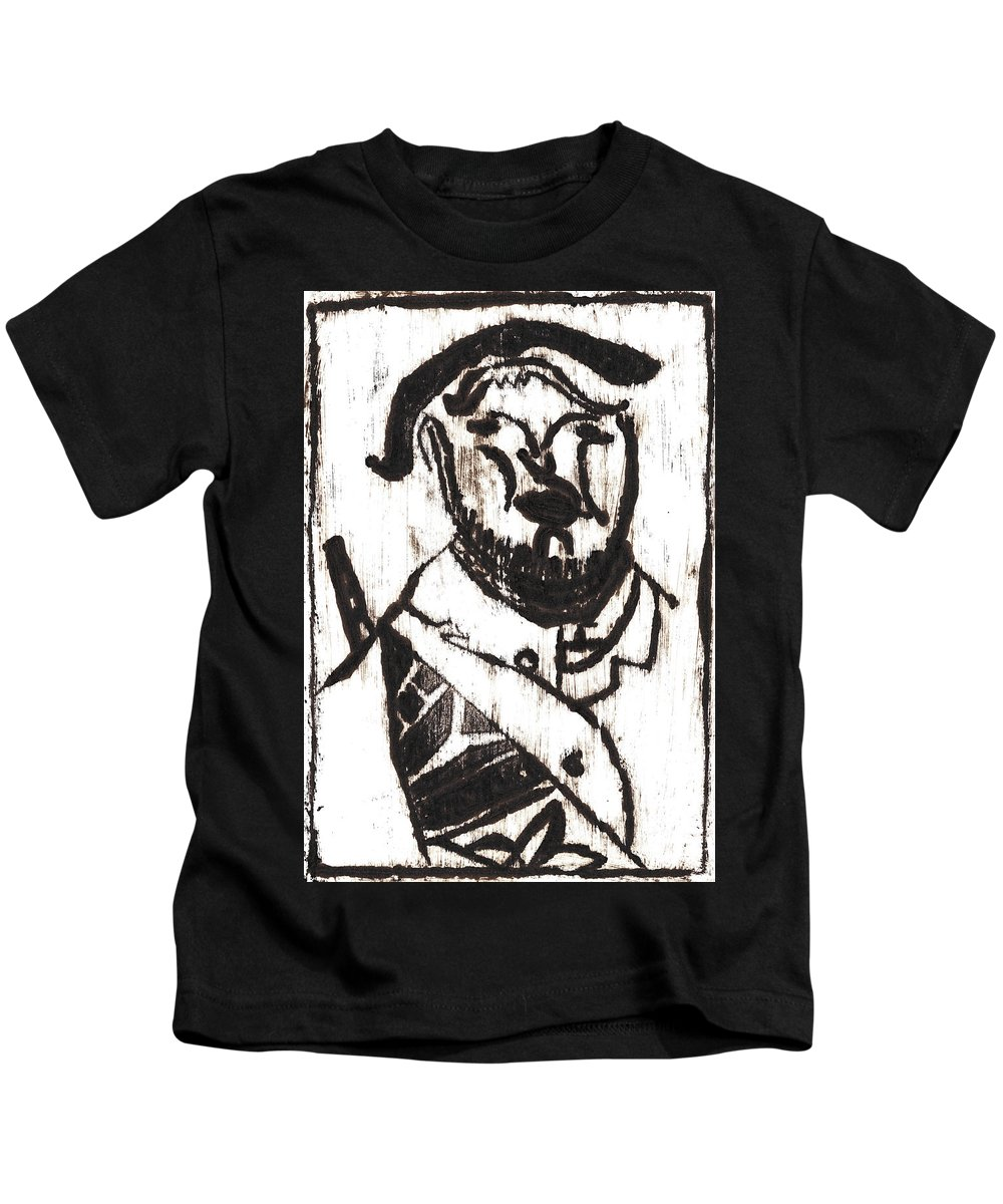 Michel Larionov Kids T-Shirt featuring the painting After Mikhail Larionov Black Oil Painting 2 by Edgeworth DotBlog