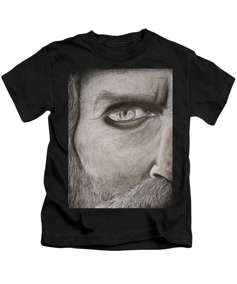 Portrait Kids T-Shirt featuring the drawing Aghor by Piyush Verma