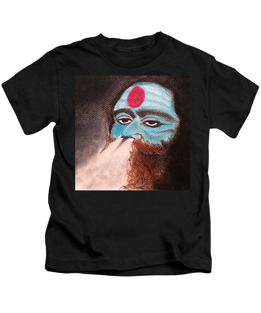 Landscape Kids T-Shirt featuring the pastel Aghori by Piyush Verma