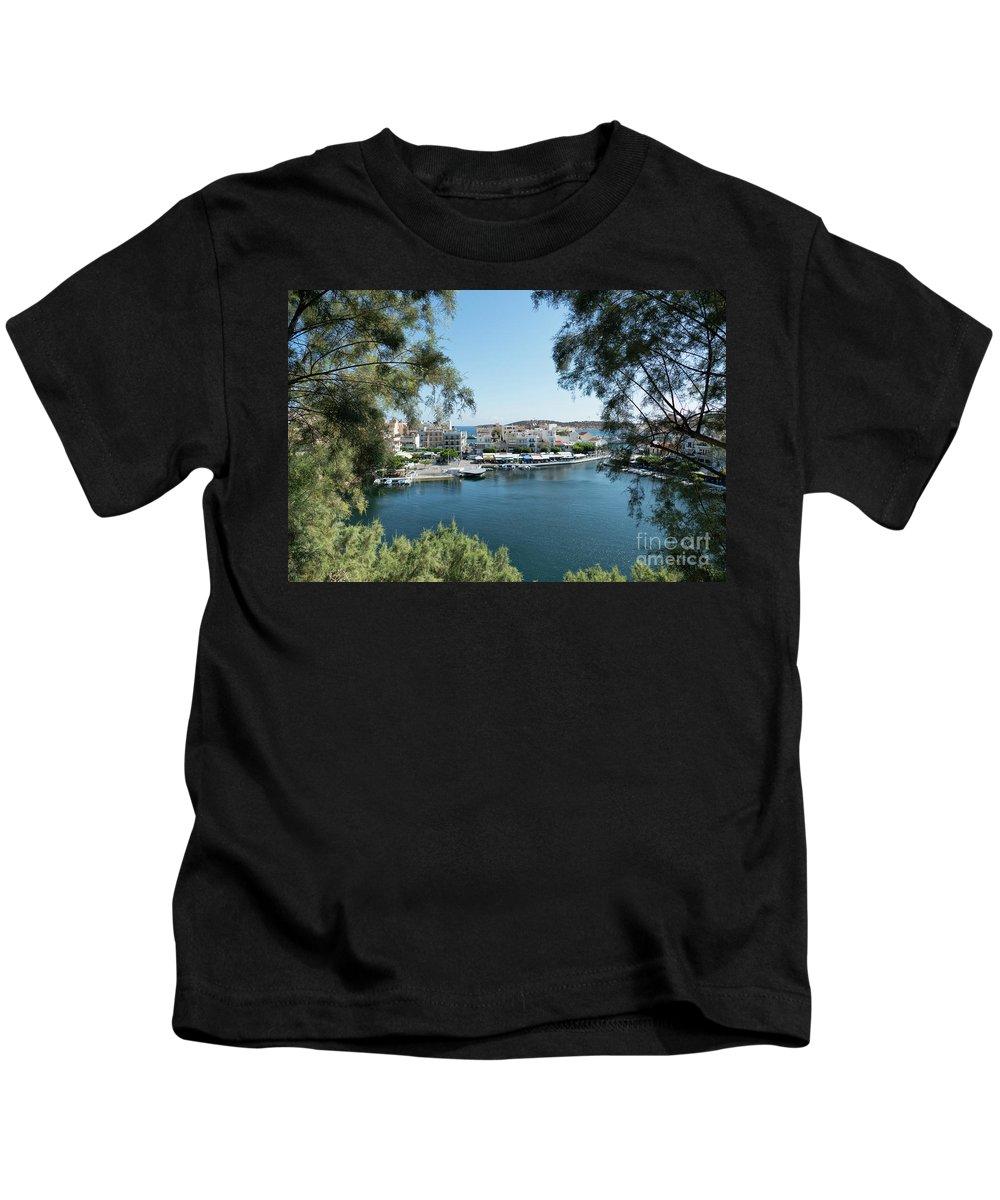 Crete Kids T-Shirt featuring the photograph Agios Nikolaos Crete by Lynn Bolt