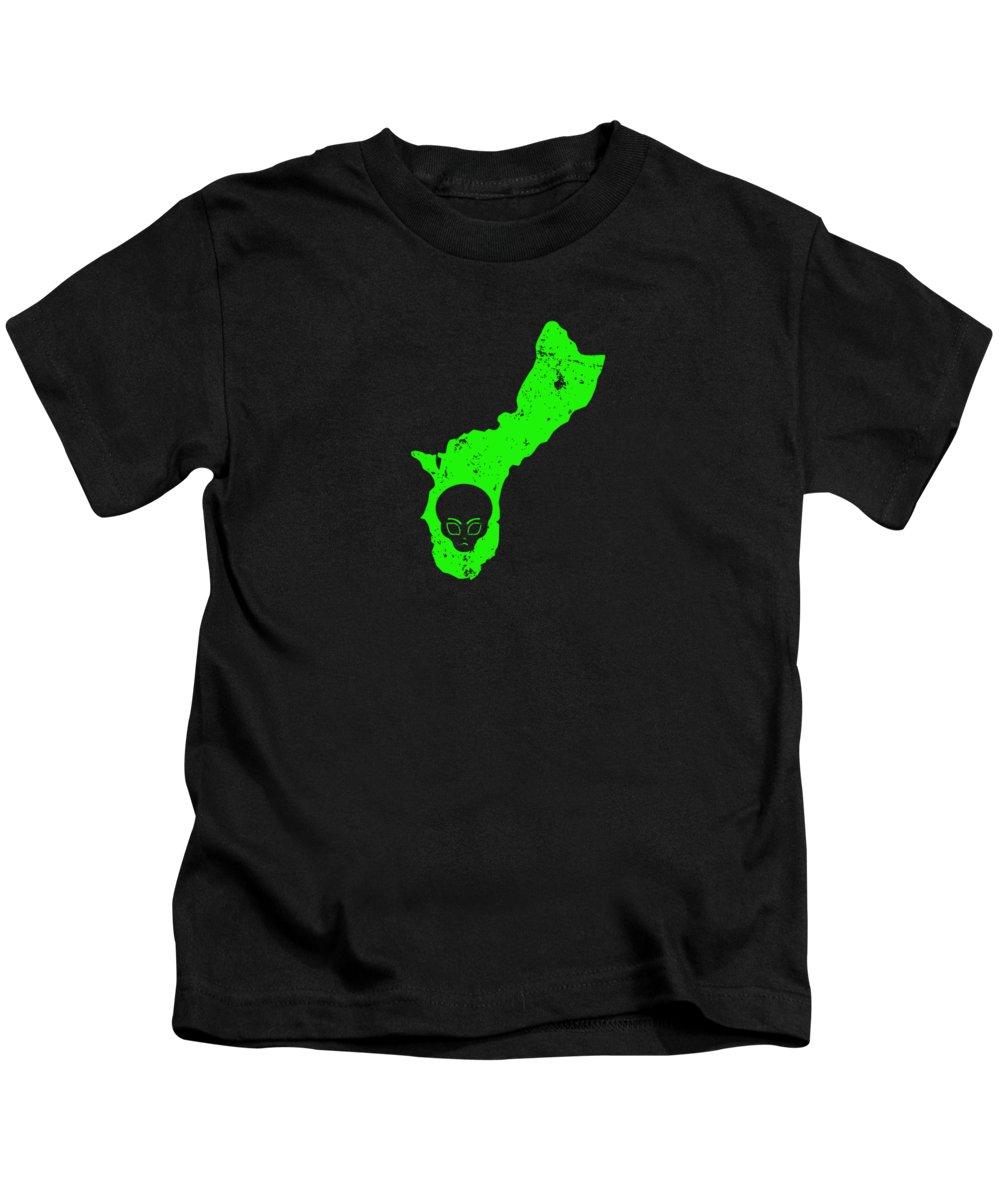 Lien-shirt Kids T-Shirt featuring the digital art Alien Head Design Ufo Encounters Guam Ufo Crash by Funny4You