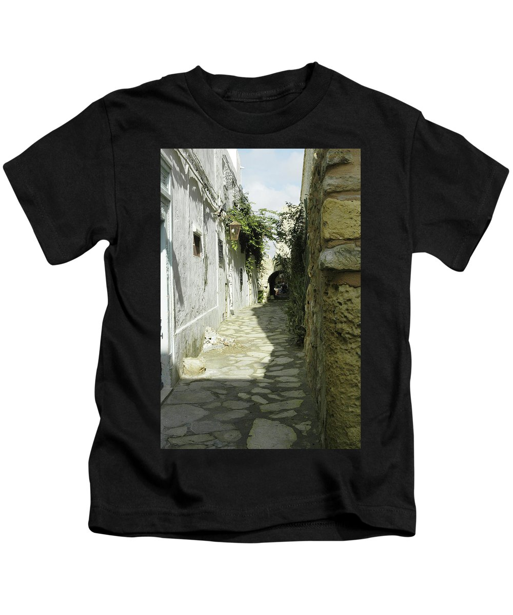 Alley Kids T-Shirt featuring the photograph alley in Hammamet, Tunisia by Victor Lord Denovan