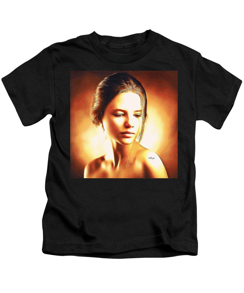 Paint Kids T-Shirt featuring the digital art Anastasia Portrait by Nenad Vasic