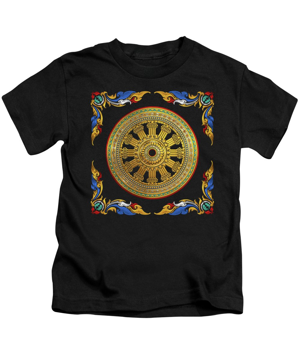 'sacred Symbols' Collection By Serge Averbukh Kids T-Shirt featuring the digital art Ancient 12-spoked Gold Dharmachakra - The Wheel Of Dharma by Serge Averbukh