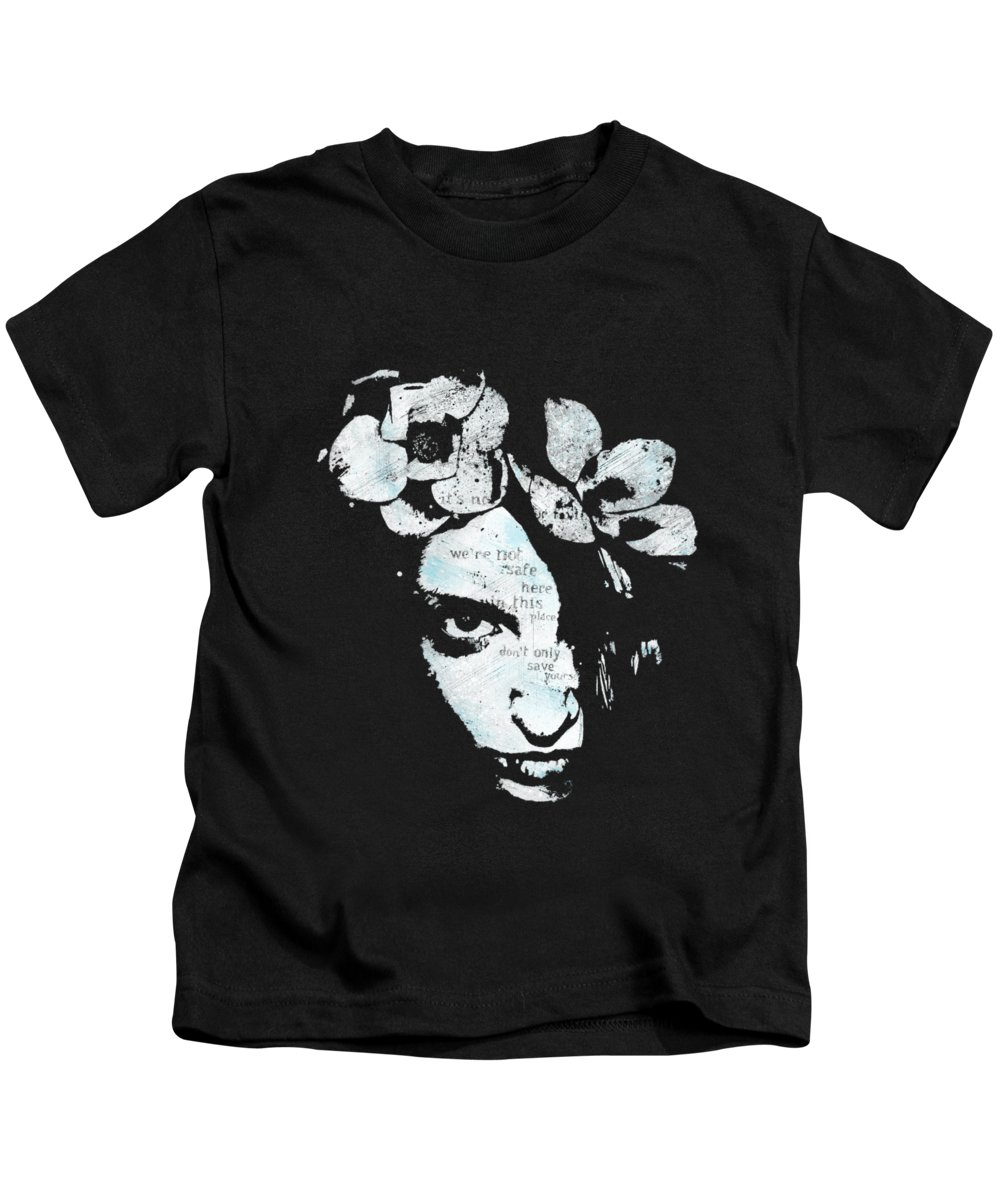 Flowers Kids T-Shirt featuring the painting Blue Hypothermia by Marco Paludet