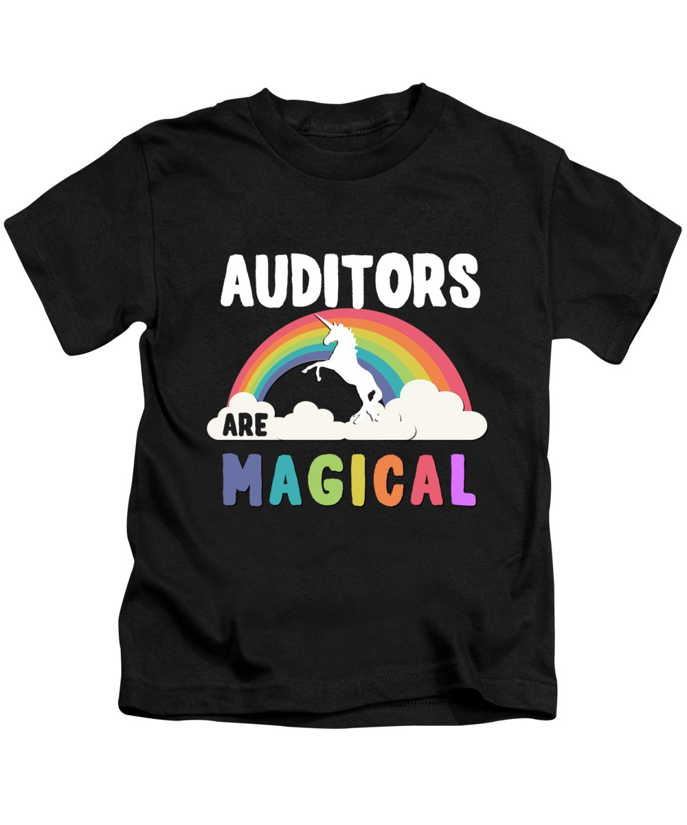 Unicorn Kids T-Shirt featuring the digital art Auditors Are Magical by Flippin Sweet Gear