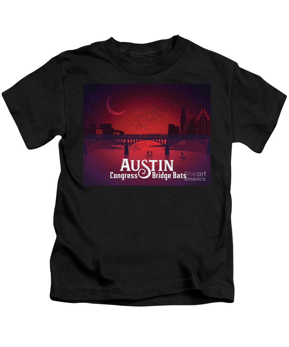 Austin Congress Bridge Bats In Red Silhouette Kids T-Shirt featuring the painting Austin Congress Bridge Bats In Red Silhouette by Say Cheese Austin