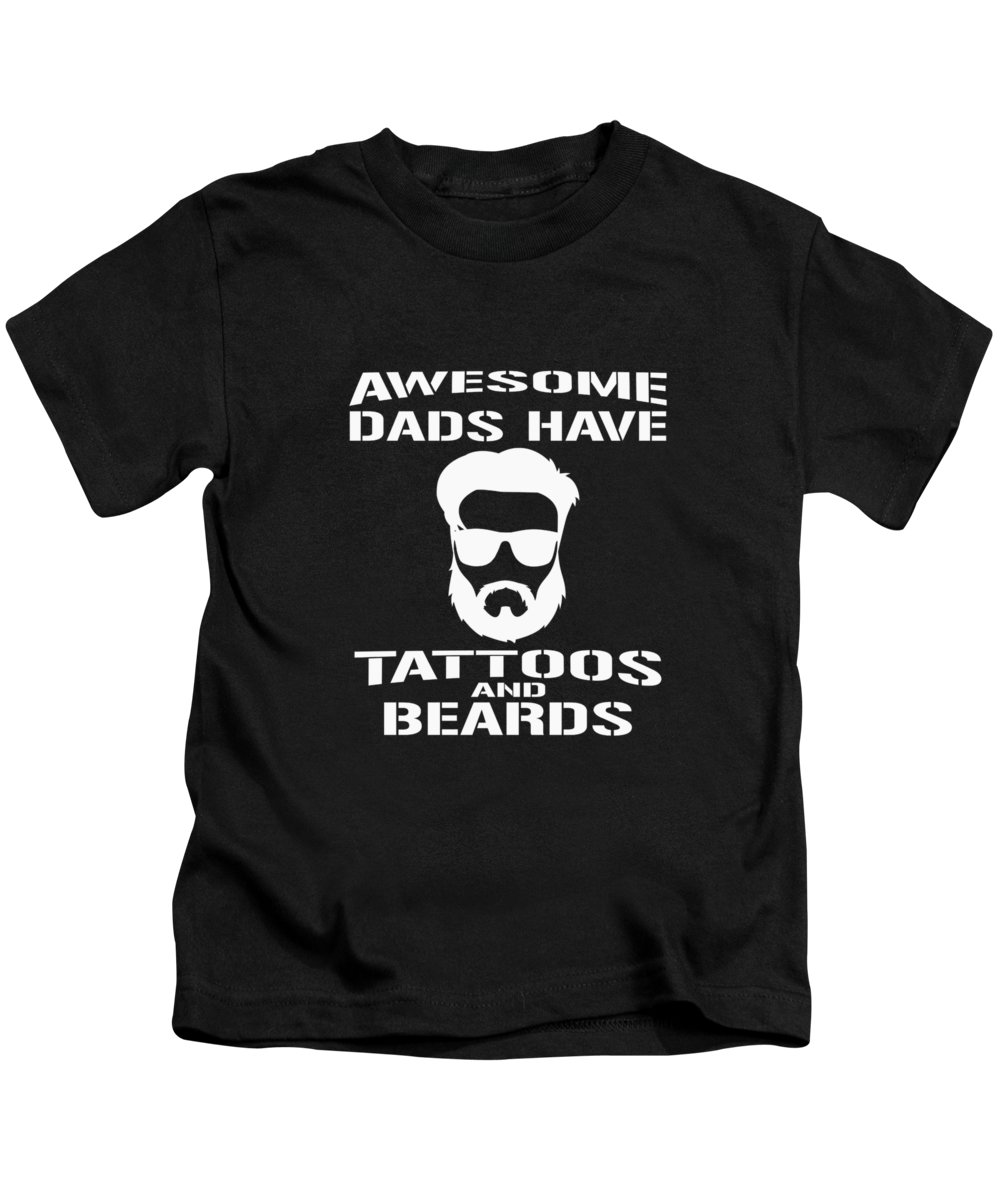 Big-foot Kids T-Shirt featuring the digital art Awesome Dads Have Tattoos And Beards by Andrea Robertson