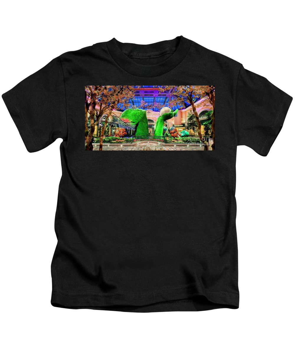 Bellagio Conservatory Kids T-Shirt featuring the photograph Bellagio Conservatory Spring Display Ultra Wide Trees 2018 2 To 1 Aspect Ratio by Aloha Art