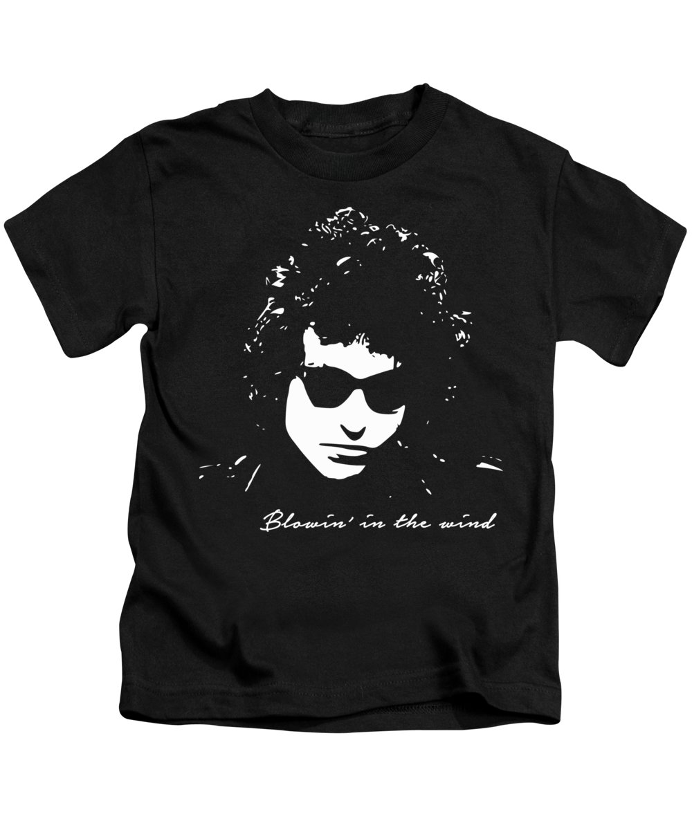Bob Dylan Kids T-Shirt featuring the digital art Bowin' In The Wind by Filip Schpindel
