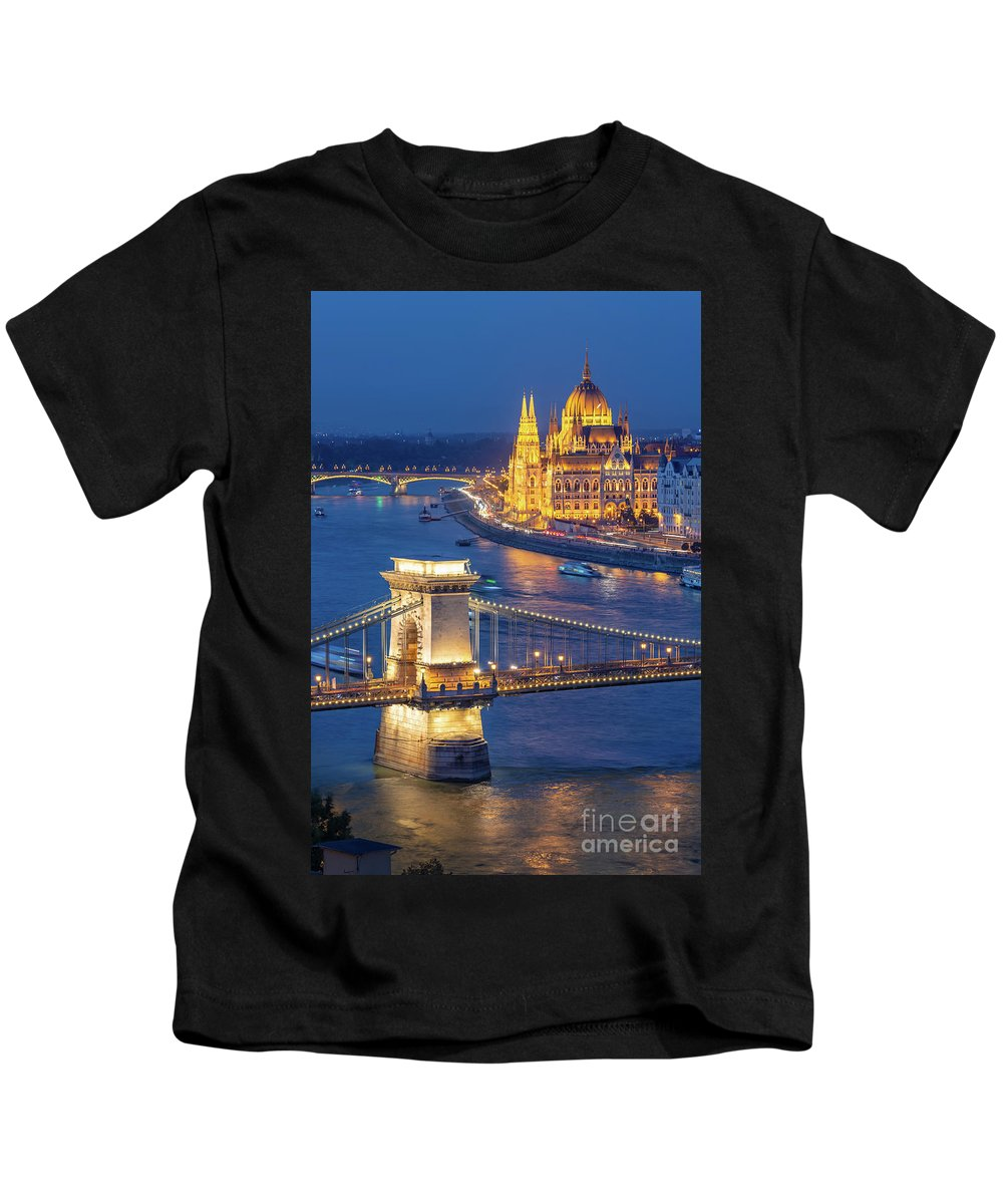 Budapest Kids T-Shirt featuring the photograph Budapest At Night by Delphimages Photo Creations