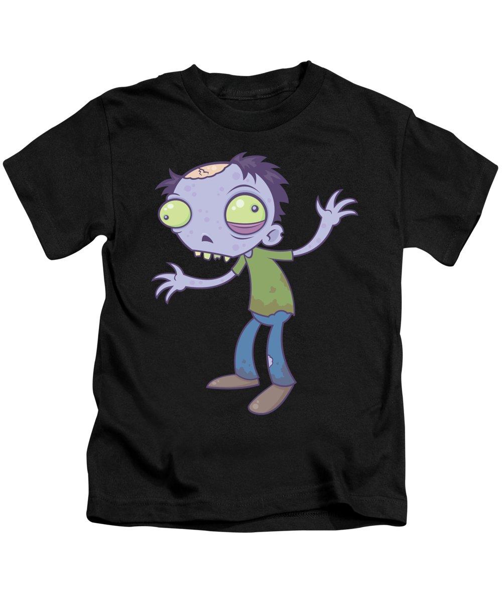 Zombie Kids T-Shirt featuring the digital art Cartoon Zombie by John Schwegel