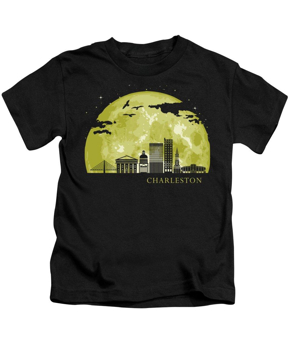 South Carolina Kids T-Shirt featuring the digital art Charleston Moon Light Night Stars Skyline by Filip Hellman