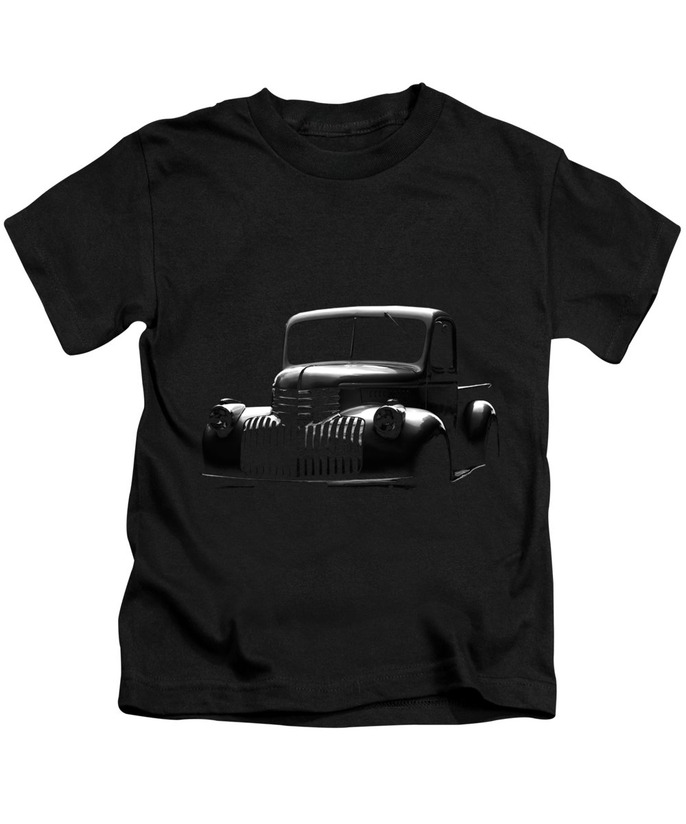 Chevy Kids T-Shirt featuring the photograph Chevrolet Pickup, Black Shirt by Hotte Hue