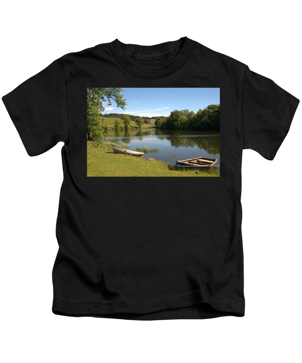 Clerklands Kids T-Shirt featuring the photograph Clerklands Loch, Near Selkirk, Scottish Borders by Victor Lord Denovan