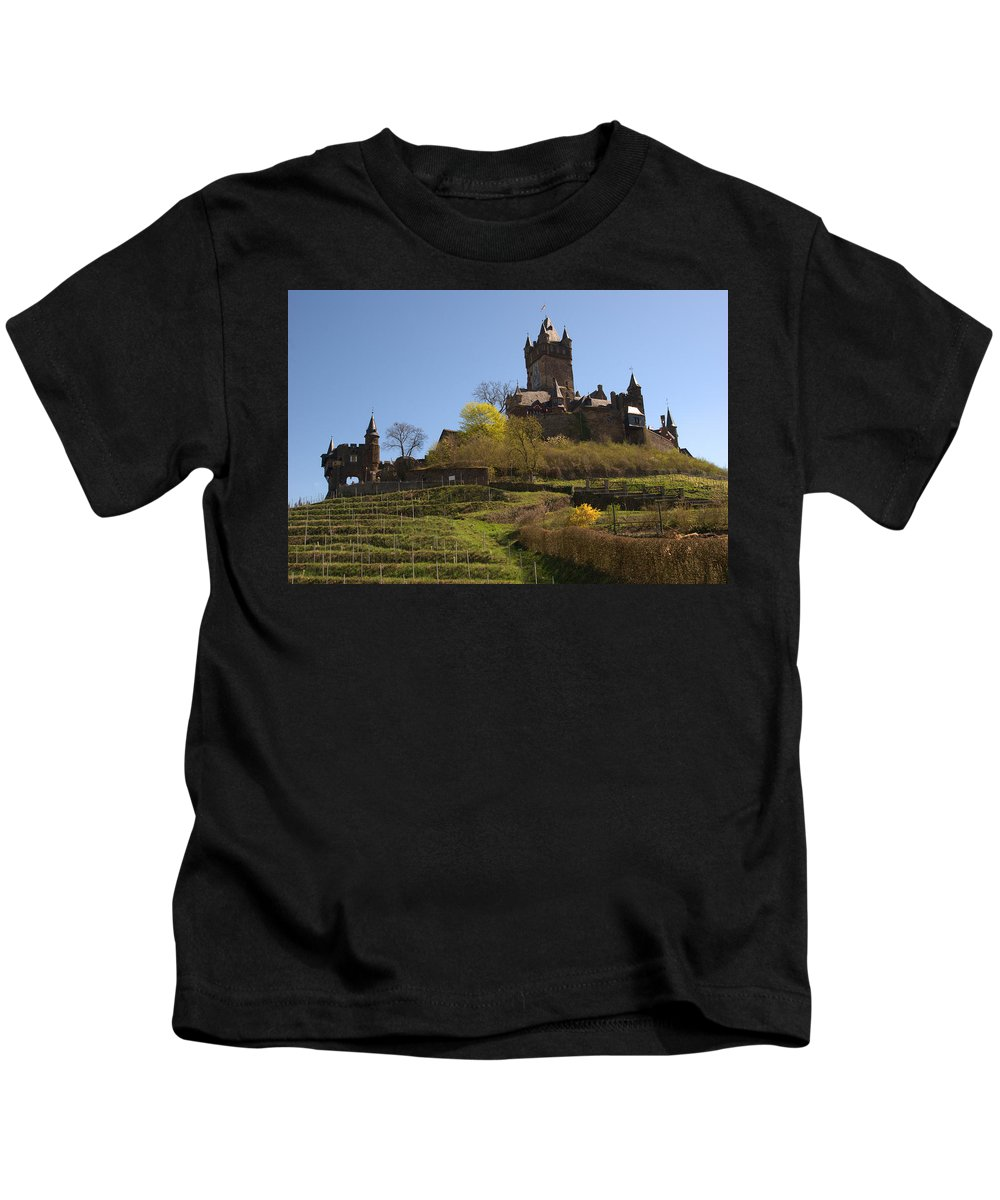 Castle Kids T-Shirt featuring the photograph Cochem Castle And Vineyard In Germany by Victor Lord Denovan