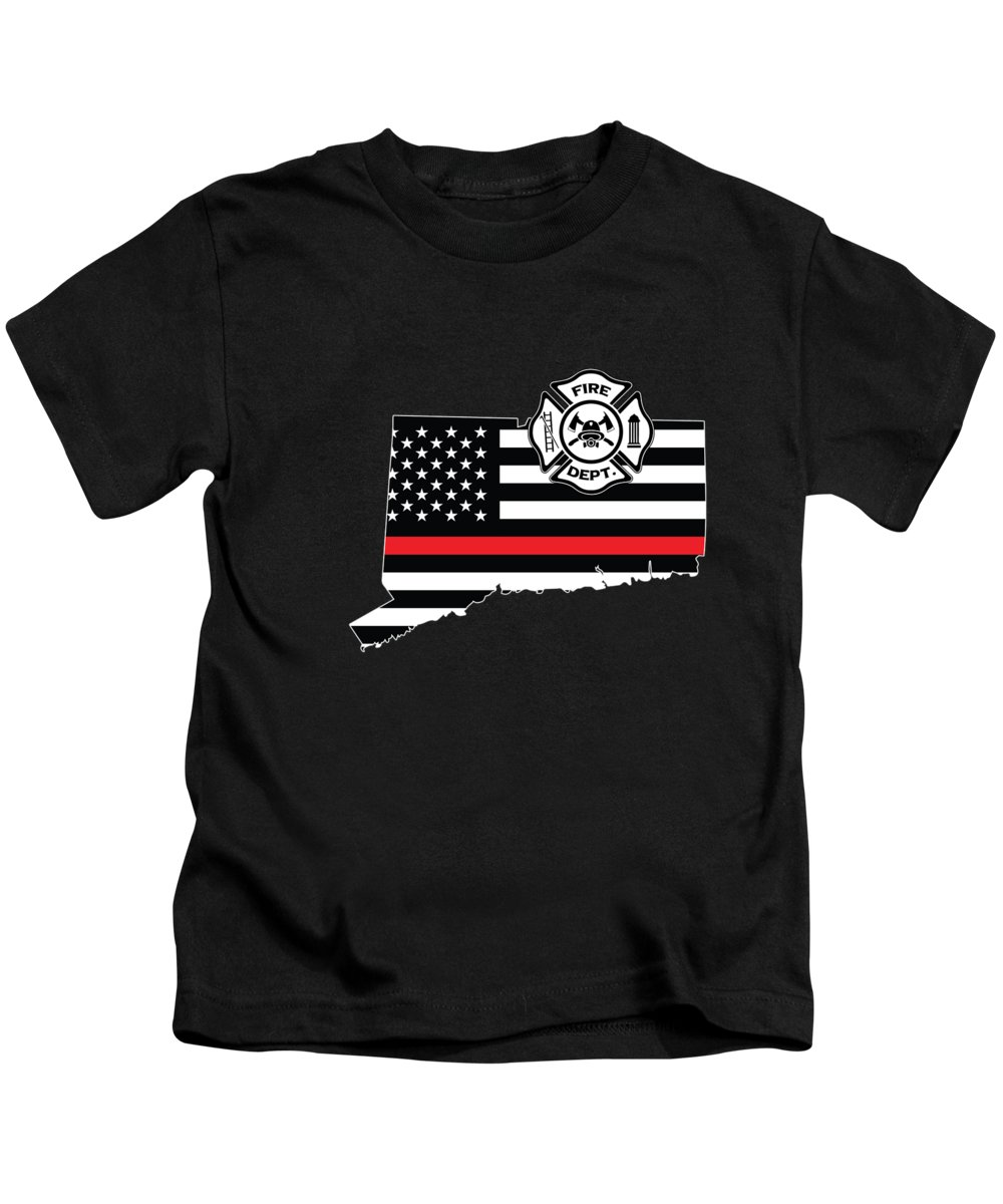 Firefighter-appreciation Kids T-Shirt featuring the digital art Connecticut Firefighter Shield Thin Red Line Flag by Jean-Baptiste Perie