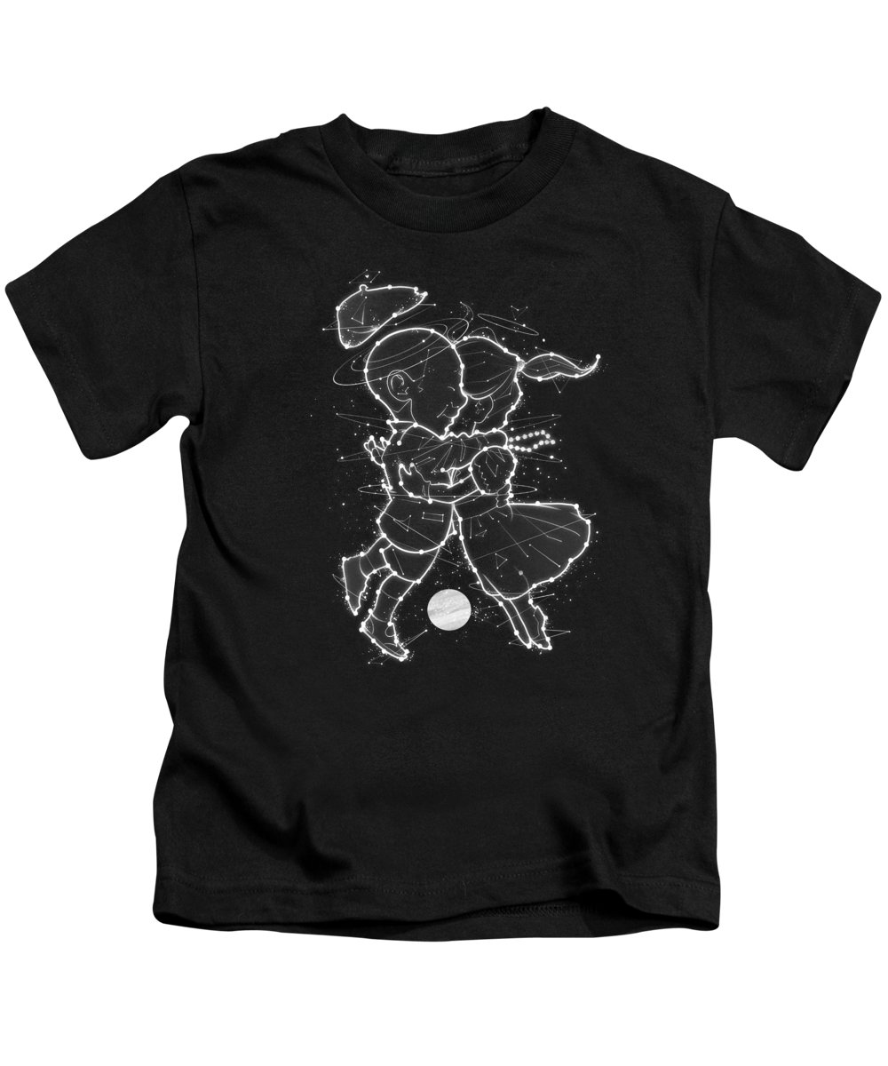 Astrology Kids T-Shirt featuring the digital art Cosmo And Celeste Colorful Cosmological Night Sky Couple In Love by Philipp Rietz