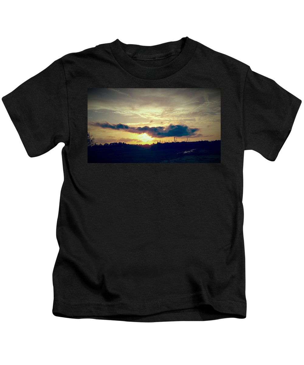 Landscape Kids T-Shirt featuring the digital art Country Sunset In Pavo by Nichole King