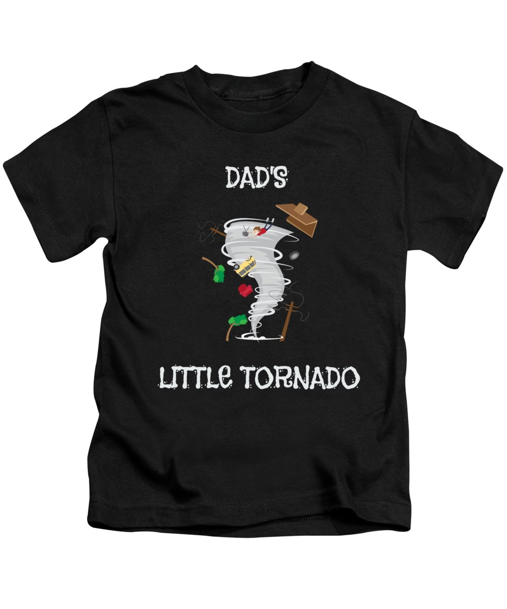 Dads-little-tornado Kids T-Shirt featuring the drawing Cute Dads Little Tornado For Tornado Kids by The Perfect Presents