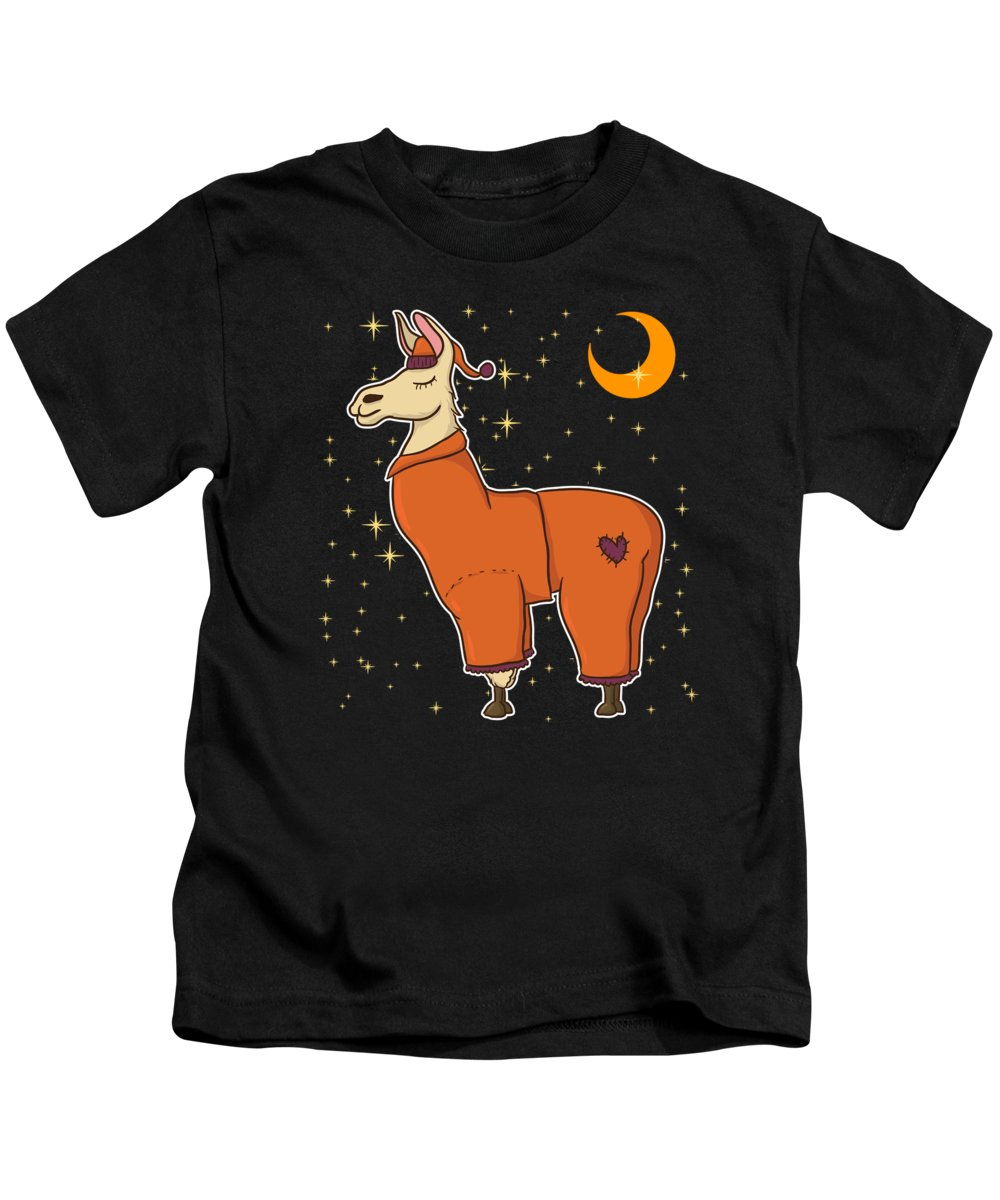 Sleepy-llama Kids T-Shirt featuring the drawing Cute Funny Sleepy Llama In Pajamas Bedtime by The Perfect Presents