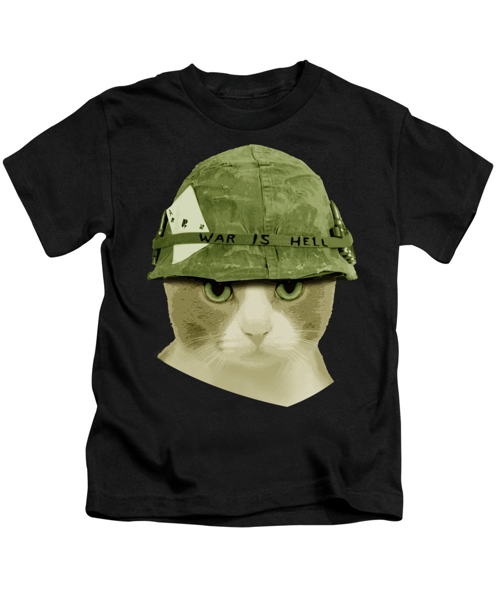 Cat Kids T-Shirt featuring the digital art Cute War Is Hell Army Cat by Filip Hellman