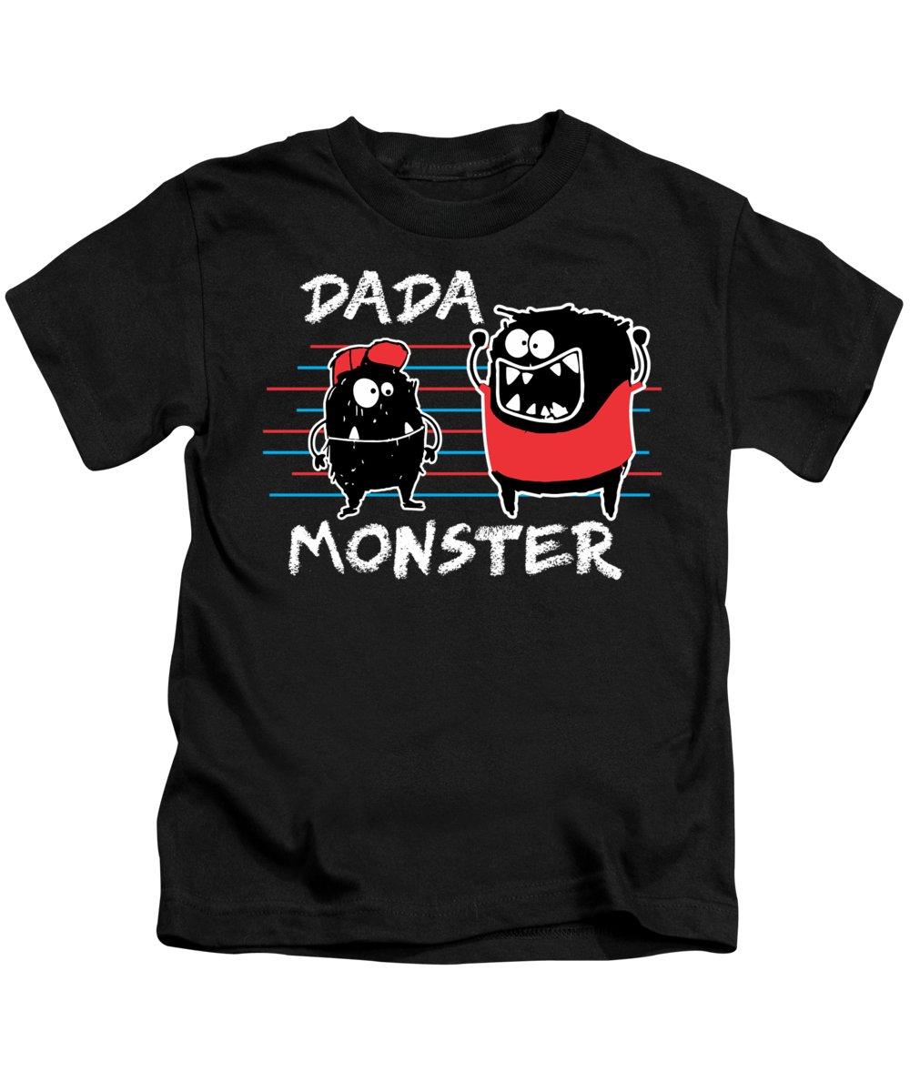 Halloween Kids T-Shirt featuring the digital art Dada Monster Cute Monster Cartoon For Kids And Dad Dark by Nikita Goel