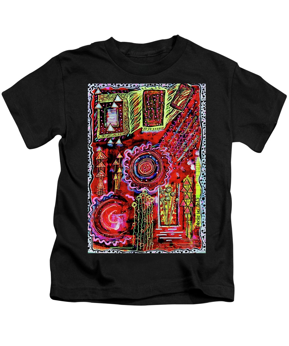 Outsider Art Kids T-Shirt featuring the mixed media Dancing Particles by Mimulux patricia No